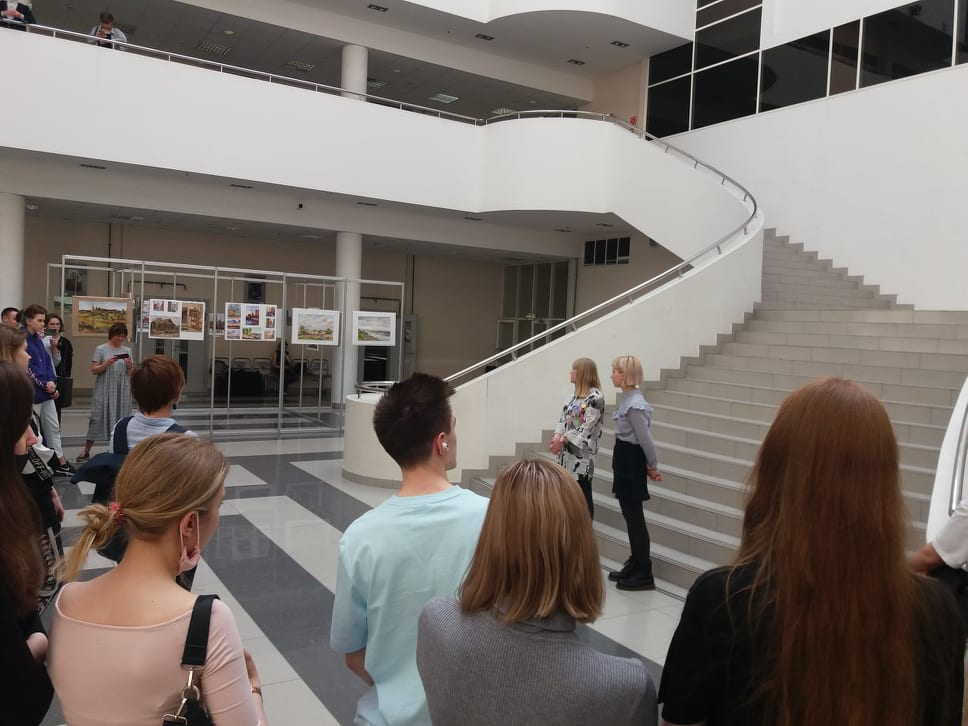 At the opening of the exhibition. Atrium of Moscow State University of Civil Engineering. April 15, 2021