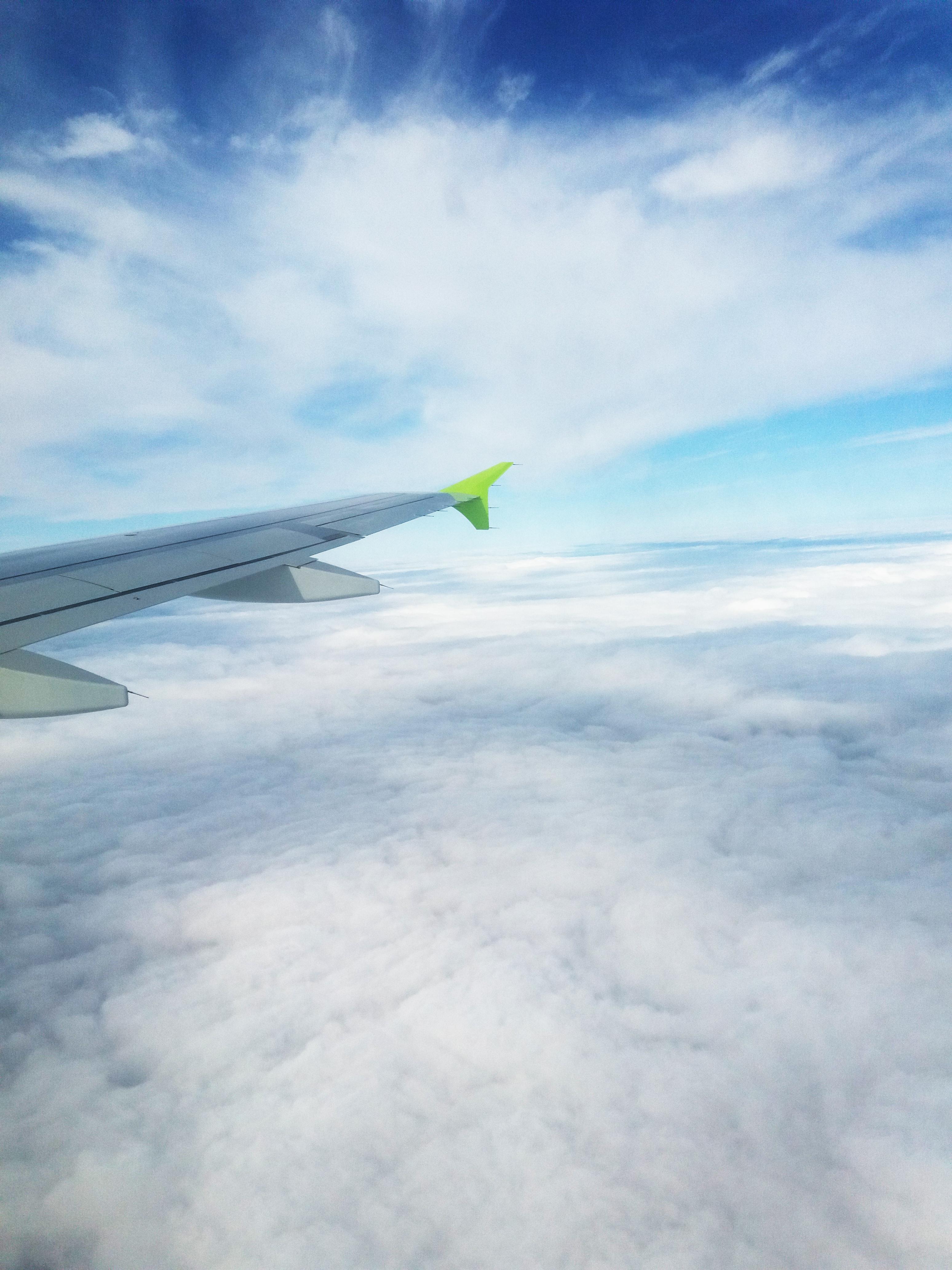 Под крылом самолёта сплошная облачность. Мы вылетели из Домодедово
