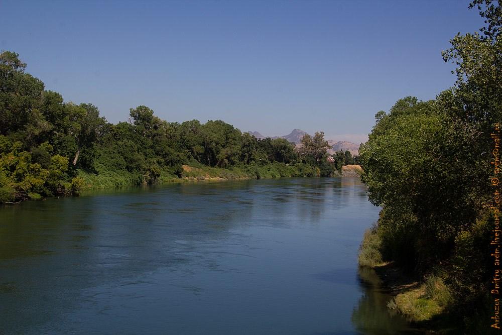 Такая вот природа. Немного полос зелени вдоль реки, а дальше сушь, степь, и даже в горах — уже ни капли воды. Река Фетер в Юба-сити