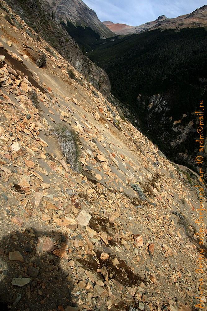Вот так придётся идти. Маленькая рыжая горушка позади - горная тундра и перевал.