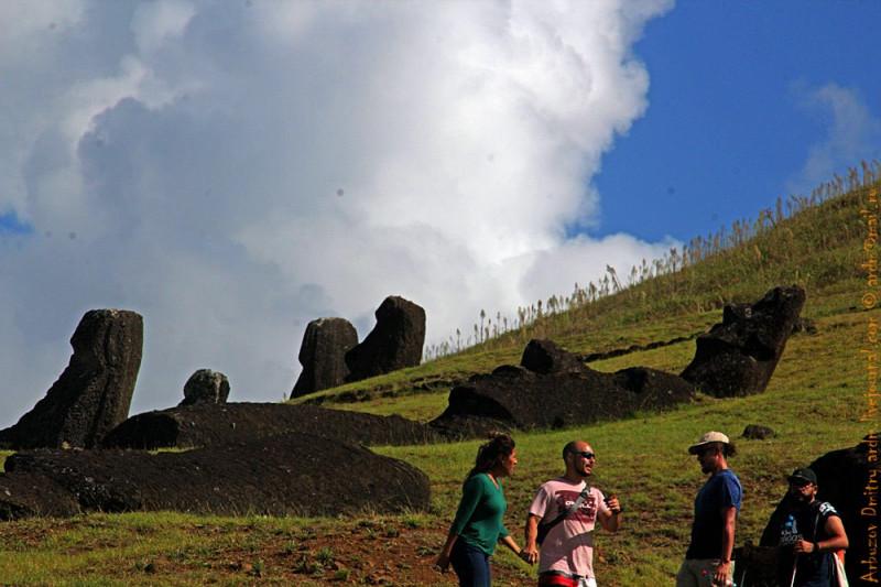Туристы и моаи