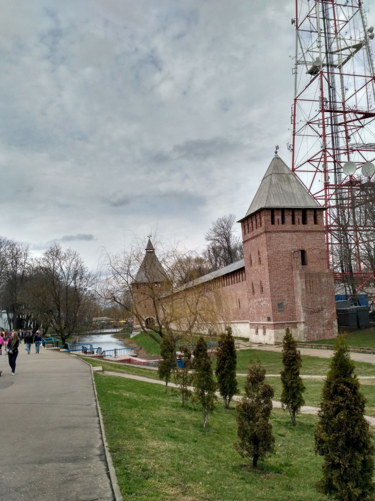 Участок крепостной стены с сохранившимся рвом вдоль Лопатинского сада (с башнями Бублейка и Копытенская)