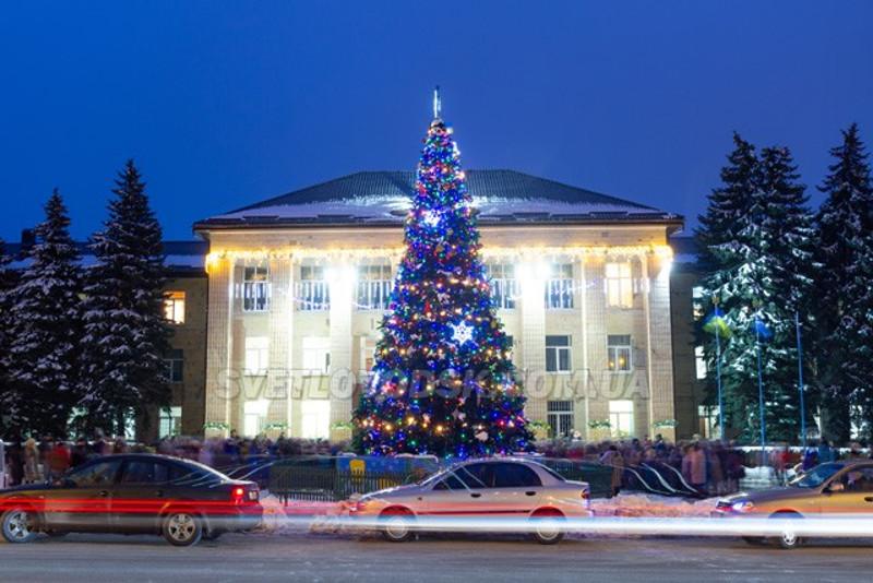 Вот и в мое время не слишком симпатичное здание городской власти пряталось за праздничной ёлкой (фото с сайта svetlovodsk.com.ua)
