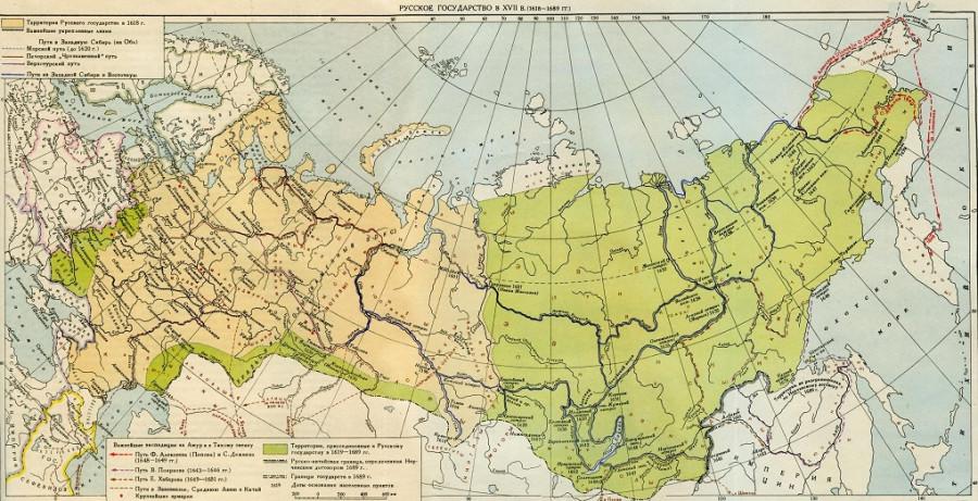 Карта России в 17 веке