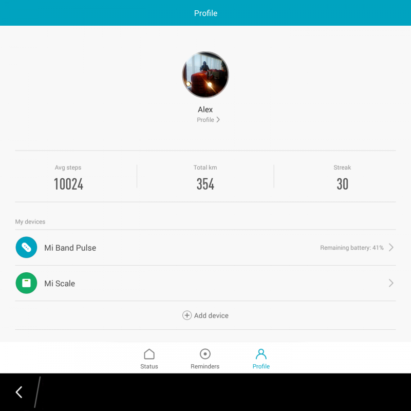 Mi Fit user profile