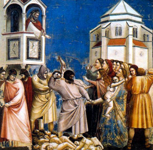 """Джотто """"Избиение младенцев"""", фреска из капеллы Скровеньи, Падуя. 1305г."""