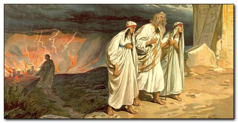 Лот с дочерьми покидает Содом