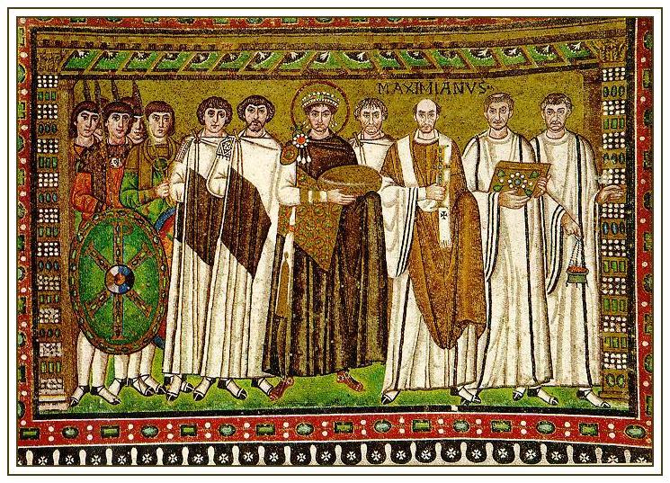 Юстиниан I. Мозаика в церкви Сан-Витале. Равенна. VI век