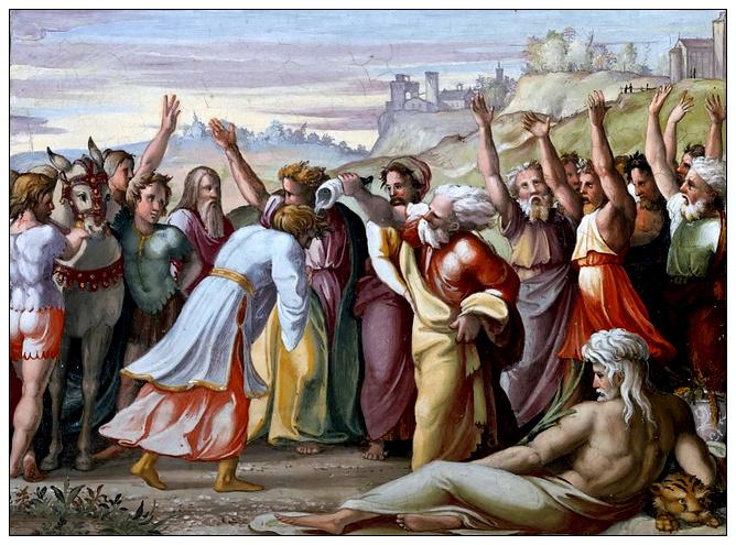 «Помазание Соломона Садоком. Фреска Рафаэля на лоджии Дворца Папы в Ватикане »