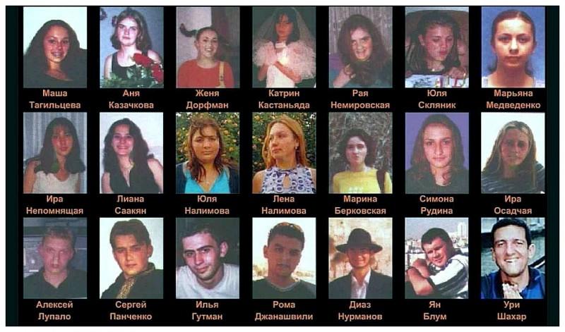 Погибшие 01.06.2001 в результате теракта в Дельфинариуме