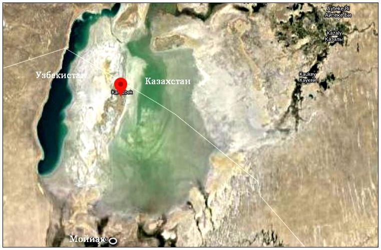 На карте видны контуры бывшего моря и отмечено место, где был о-ов Возрождения