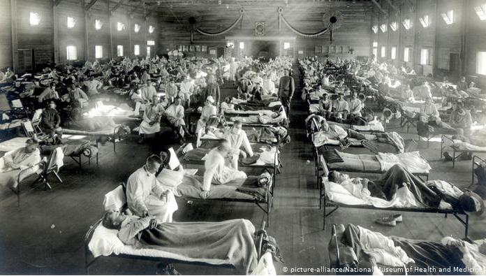 """Больные """"испанкой"""" в госпитале в США, 1918 год"""