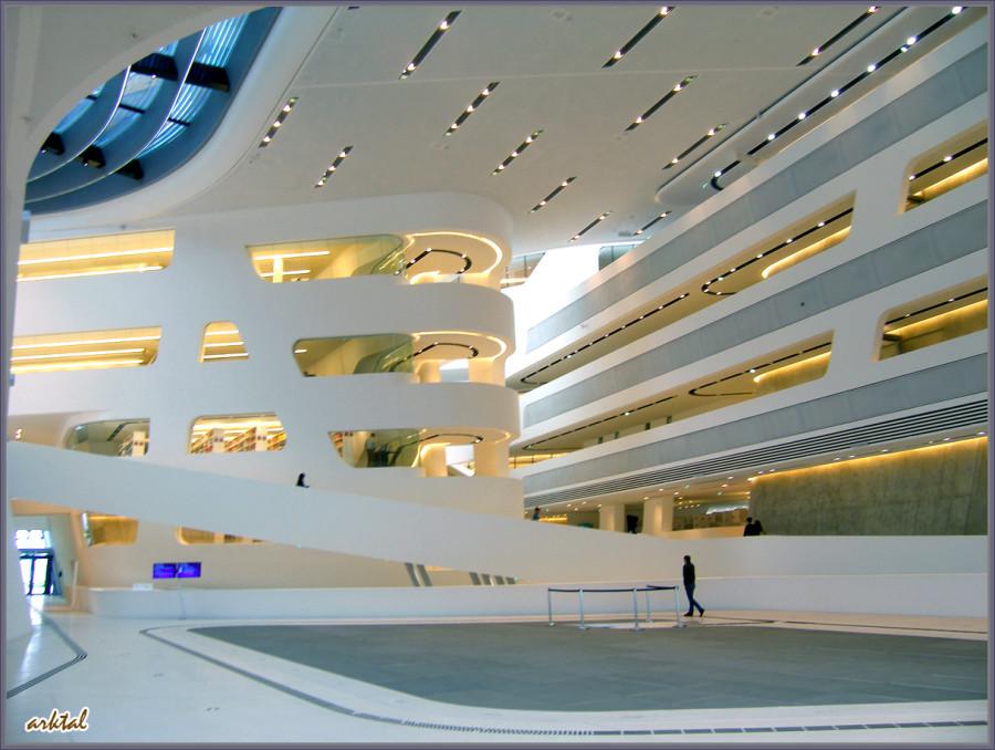 Внешний вид и интерьер библиотеки Венского университета.