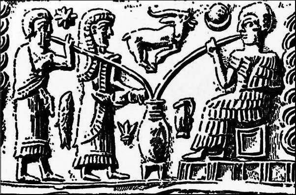 Приготовление пива. Изображение на глиняной табличке. Шумеры. Около 2000 г до н.э.