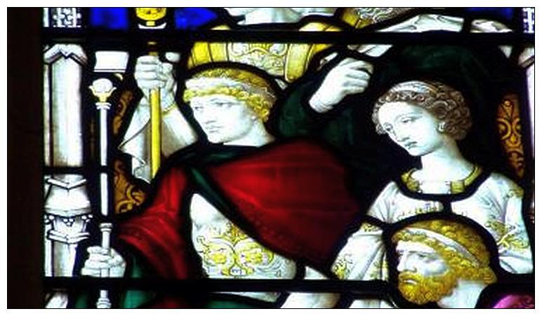 Береника с братом Агриппой II в ходе суда над св. апостолом Павлом. Деталь витража в соборе Св. Павла. Мельбурн