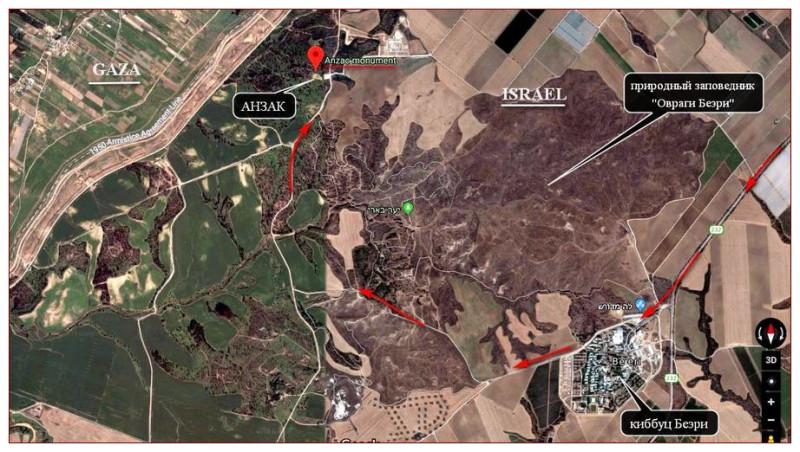 Карта проезда к памятнику АНЗАК (Google Map)