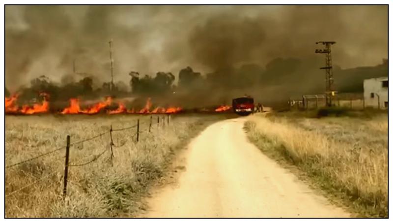 Пожар в окрестностях киббуца Нир, вызванный воздушным змеем с зажигательной смесью из Газы