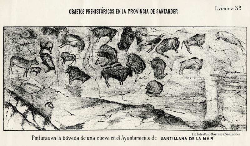 Зарисовка изображений Альтамиры, включенная в книгу Марселино де Саутуолы