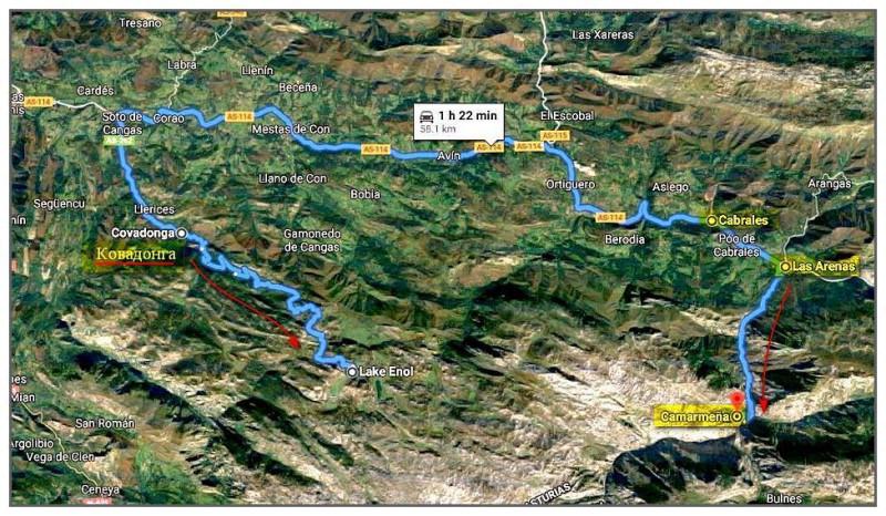 1) Карта маршрута в северной части горного массива Пики Европы