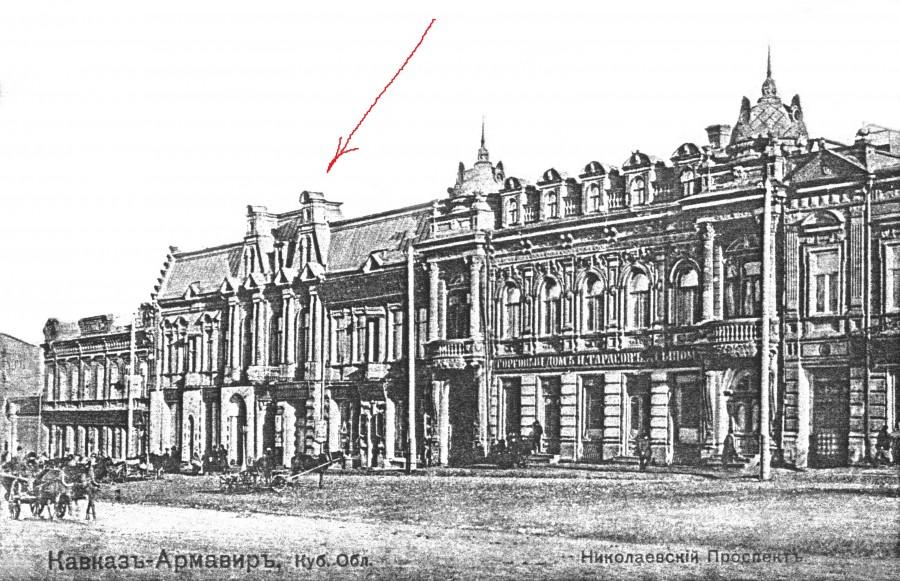 Восточная сторона проспекта между ул. Садовой и Почтовой; дома И.Тарасова и Е.Баронова. 1907 г.