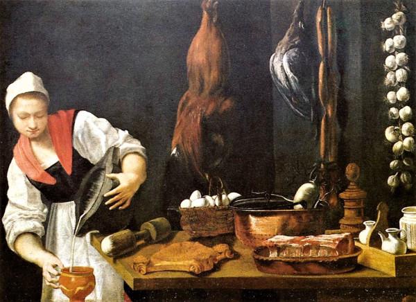«Девушка на кухне», картина итальянского художника Андреа Коммоди (16-17 века)