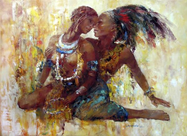 Влюбленные племени Мурси., 50х70. Х-м. 2011