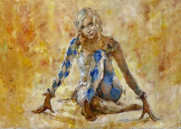Девушка в костюме арлекина.,50х70. Х-м. 2011