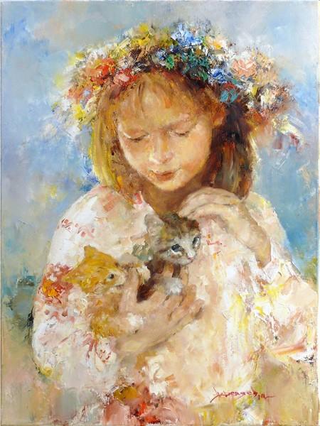Украиночка и котята. 40 х 30 см. 2014
