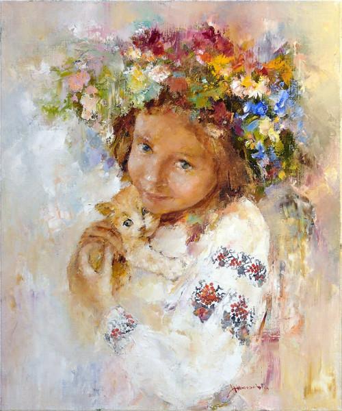 Украиночка и рыжий котенок. 60 х 50 см. 2014