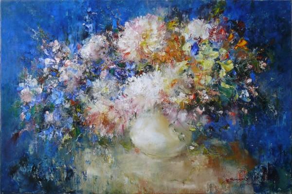 Цветы на синем., 60х90. Х-м. 2011