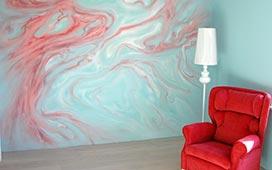 Роспись стен в спальне. Подмосковье, дер. Зайцево