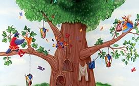 Роспись в детской – сказочное дерево