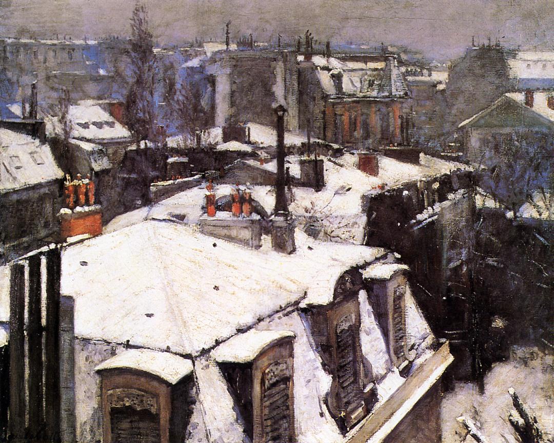 Rooftops Under Snow  -  1878