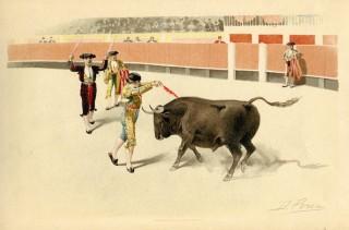 """""""Коррида"""" Литография. Испания. Вторая половина 19 века."""