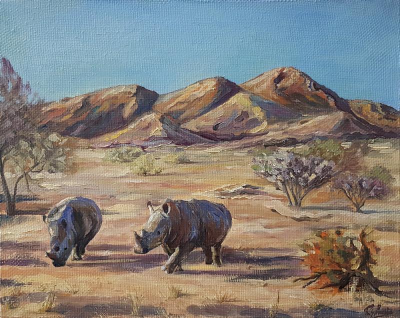 Живопись маслом. Носороги