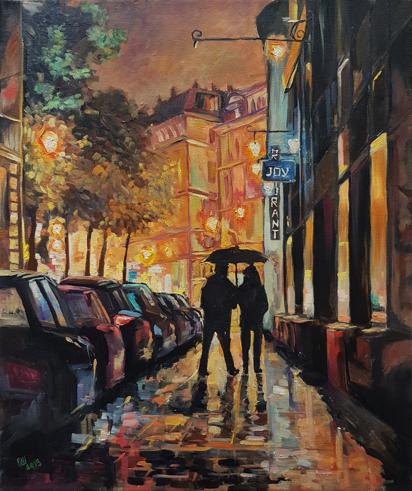 Ночной городской пейзаж, картина маслом