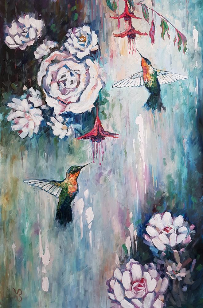 Колибри. Картина маслом