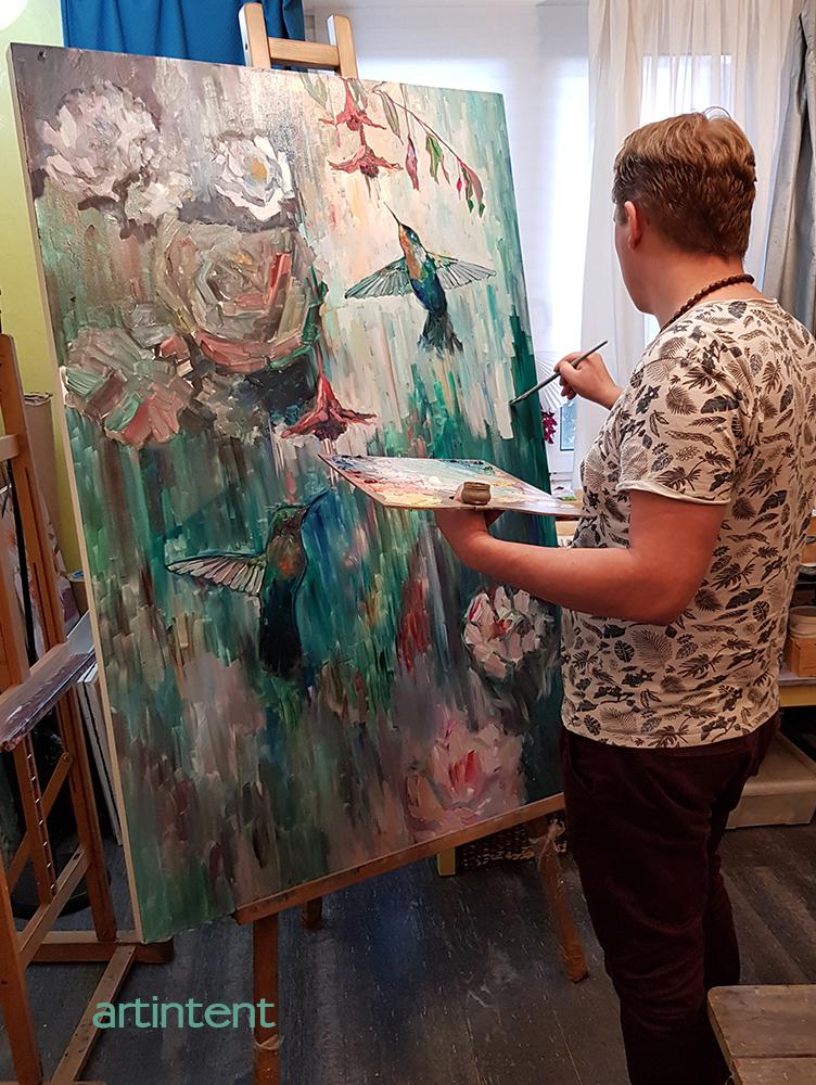 Живописный процесс рисования картины
