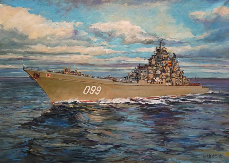 Картина маслом Крейсер «Пётр Великий»