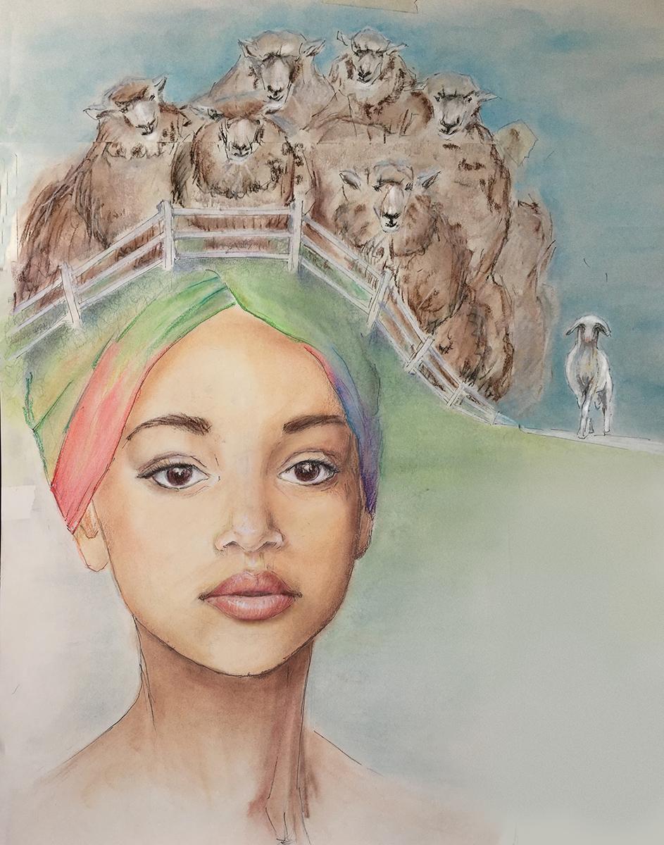 Ольга Куприна портрет цветные карандаши