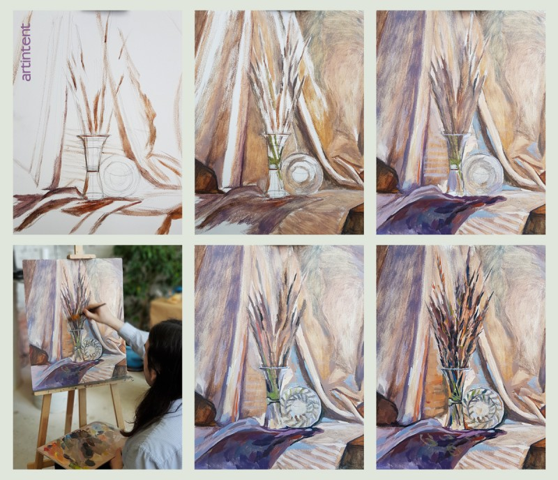 Артинтент - живопись маслом поэтапно натюрморт