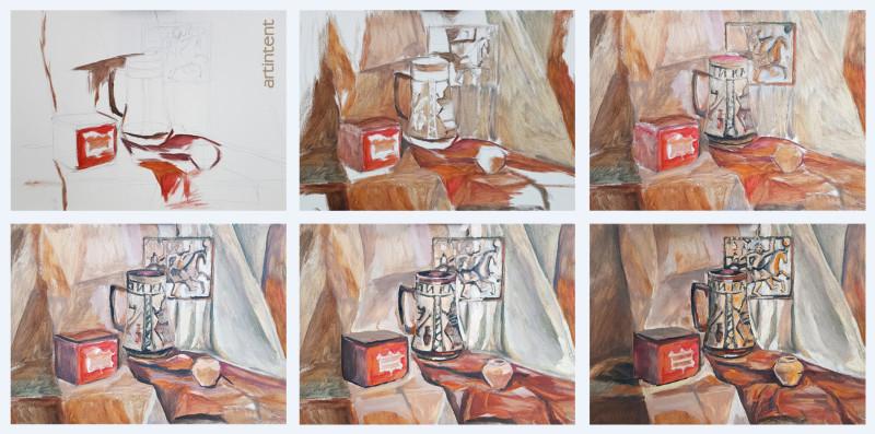 Артинтент - Поэтапная живопись маслом  натюрморт