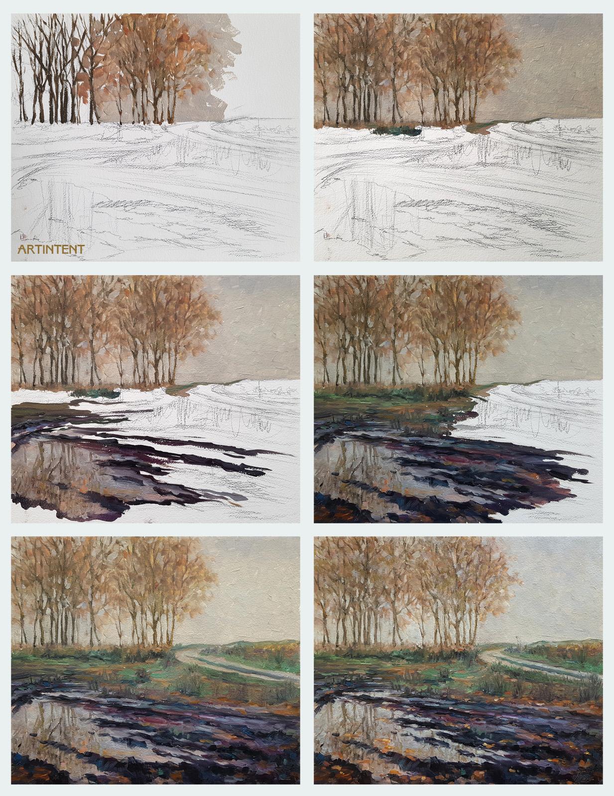Александр Буданов - поэтапная живопись маслом пейзаж