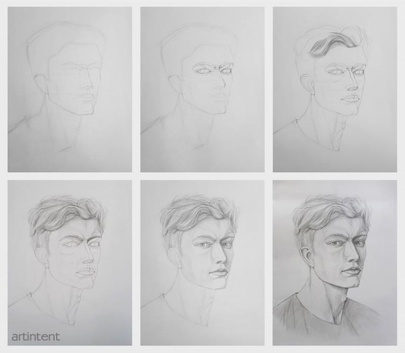 Артинтент - Портрет. Рисунок карандашом. Поэтапное рисование