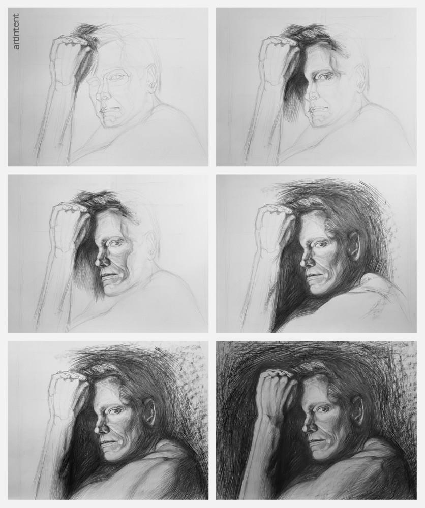 Арттинтент - портрет поэтапное рисование карандашом