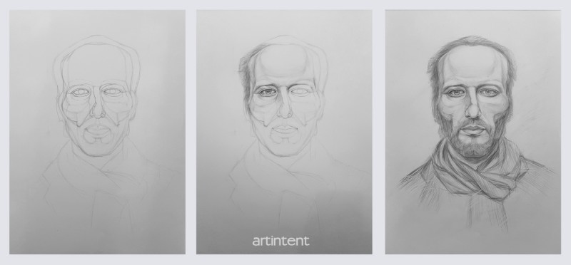 Artintent -  поэтапное рисование портрет