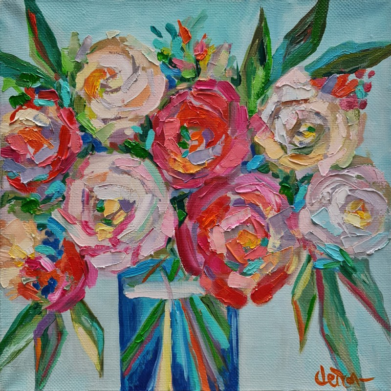 Артинтент - живопись мастихином, цветы абстракция