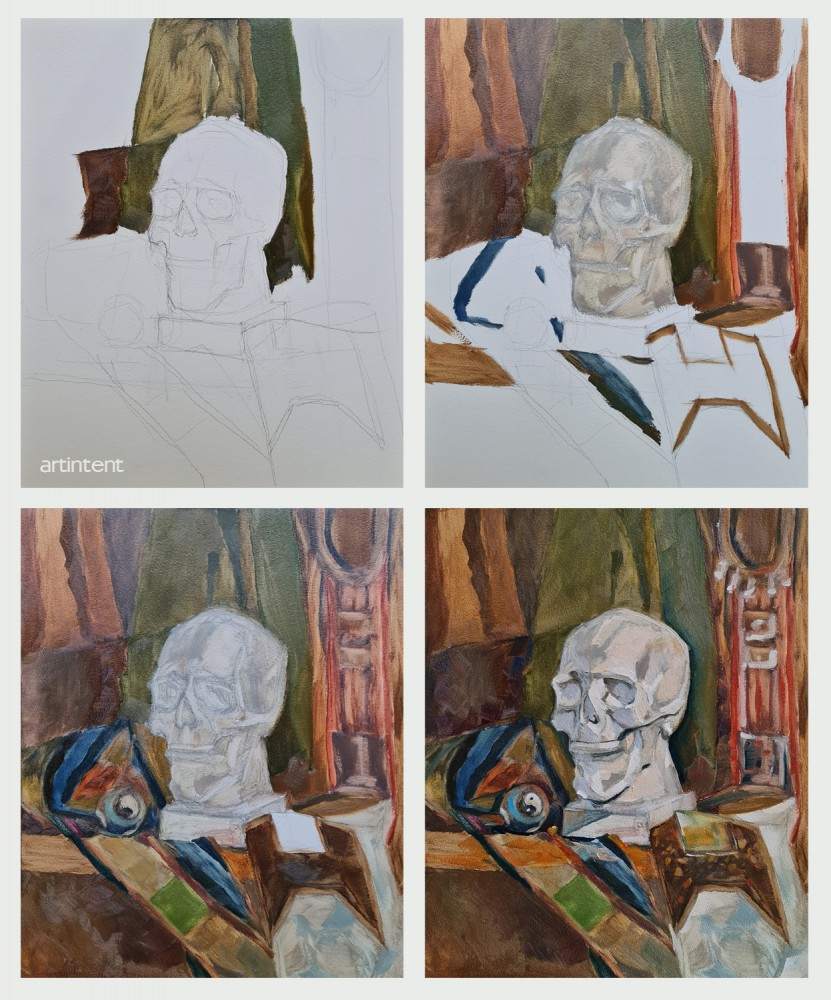 Артинтент — Поэтапная живопись маслом натюрморт