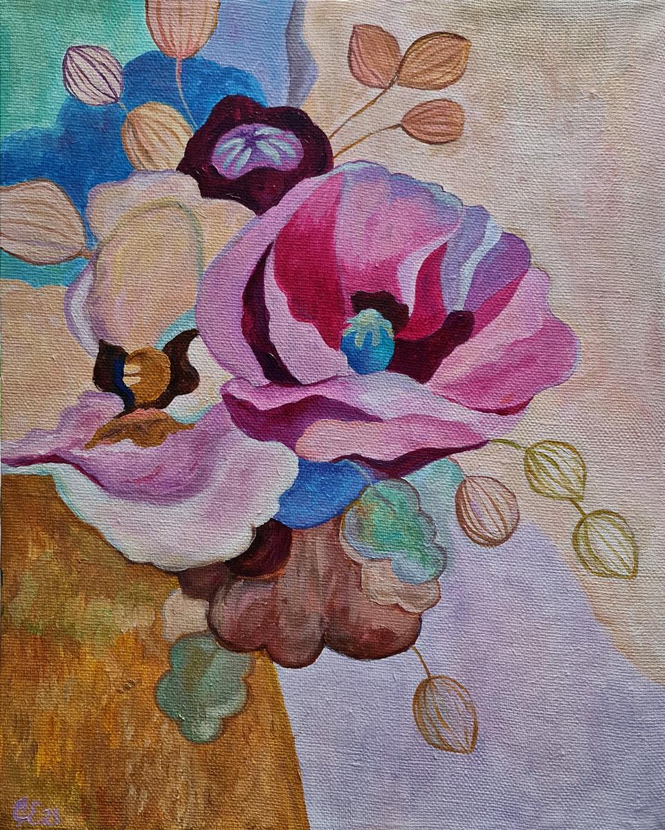 Артинтент — живопись маслом, цветы абстракция