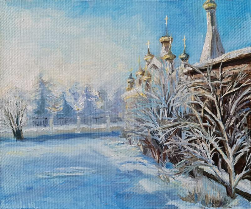 Артинтент — этюд маслом, зимний пейзаж
